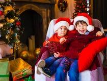 面孔,圣诞节帽子,树,乐趣 免版税库存照片