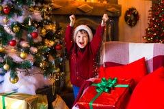 面孔,圣诞节帽子,树,礼物,乐趣 免版税图库摄影