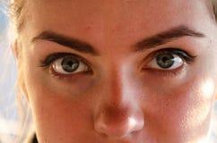 面孔,近女孩的眼睛,在晴朗的春天的特写镜头 免版税库存图片