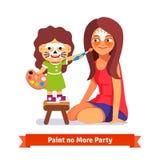 面孔绘画党 女孩和她的老师 库存照片