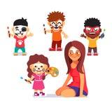 面孔绘画党 画字符的孩子 库存图片
