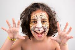 面孔绘画,豹子 免版税库存照片