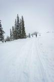 面对在道路盖子的人立场山有雪的 库存图片