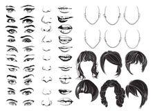 面对建设者、眼睛、嘴唇、鼻子和头发,传染媒介妇女面孔零件,顶头字符 也corel凹道例证向量 向量例证