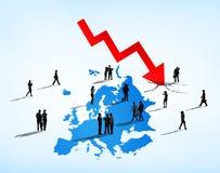 面对欧洲债务危机的商人 库存例证