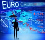 面对欧洲危机的商人 库存照片