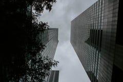 面对的两个高楼从低角度射击了 免版税库存图片