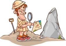 面对考古学家地图 免版税库存图片