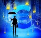面对金融危机的商人 免版税库存图片