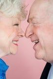 面对面资深的夫妇 免版税库存图片