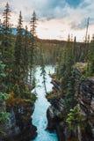 面对Athabasca河的壁架在Athabasca附近落 免版税库存图片