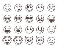 面带笑容面孔平的线传染媒介象设置了与滑稽的表情 向量例证