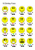 16面带笑容面孔象集合 免版税图库摄影