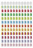 面带笑容 各种各样的意思号11图表的汇集在12颜色口气的 图库摄影