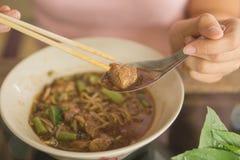 面条丸子和猪肉炖煮的食物 库存图片