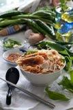 面条槟榔岛大虾 免版税库存图片