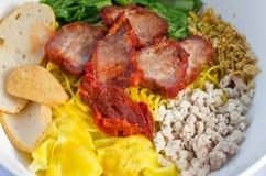 面条泰国猪肉的样式 免版税库存照片