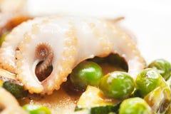 面条用章鱼、海鲜和调味汁 库存照片