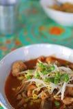 面条称呼泰国汤姆素食主义者薯类 免版税库存照片