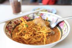 面条Khao大豆,与鸡的泰国面条 库存照片