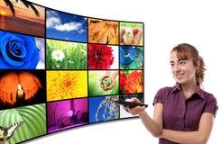 面板电视妇女 免版税库存图片