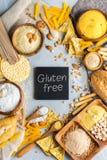 面筋免费食物和面粉,杏仁,玉米,米,鸡豆 图库摄影