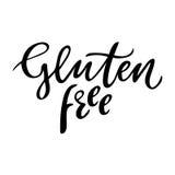 面筋自由手拉的商标,标签 导航例证食物和饮料的,餐馆,菜单,生物市场eps 10和 免版税库存图片