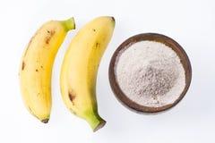 面粉和香蕉果子 免版税库存照片