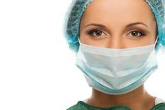 面罩的妇女医生 免版税库存图片