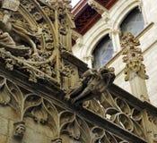 面貌古怪的人在巴塞罗那位于哥特式处所,西班牙 图库摄影