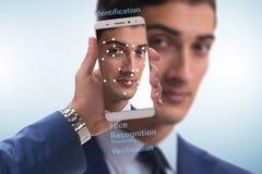 面貌识别软件和硬件的概念 免版税库存照片