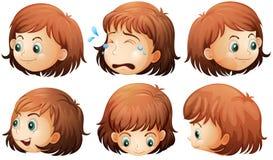 面部不同的表达式 库存图片