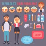 面部关心皮肤问题导航干净的humancosmetic丘疹皮肤学不稳定面部皮包骨头的关心少年瑕疵 向量例证