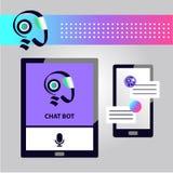面部具体化chatbot的概念 剪影顶头机器人 标志intell 向量例证