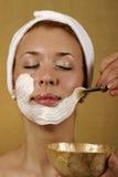 面部屏蔽skincare温泉处理 库存图片