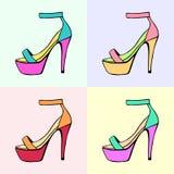 鞋子导航线性例证集合 皇族释放例证