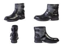 鞋子春天皮靴,妇女的意大利皮鞋拼贴画在白色背景的 免版税库存图片