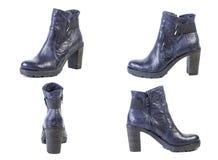 鞋子春天蓝色起动拼贴画妇女鞋子的在白色背景,网上商店 免版税图库摄影