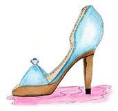 鞋子水彩 库存照片