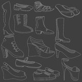 鞋子白垩传染媒介例证 免版税图库摄影
