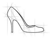 鞋子草图妇女 免版税库存照片
