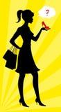 鞋子购物的妇女 免版税库存图片