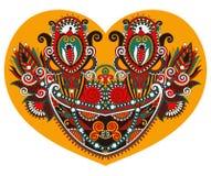 鞋带与种族花卉佩兹利设计的心脏形状华伦泰的 向量例证