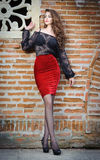 黑鞋带女衬衫、红色裙子和高跟鞋的迷人的年轻深色的妇女在砖墙附近。性感的华美的少妇 库存照片