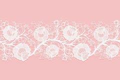 鞋带水平的无缝的透雕细工玫瑰 在桃红色背景的白色有花边的滤网 向量例证