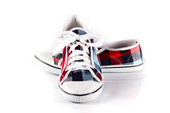 鞋带穿上鞋子体育运动 免版税库存图片