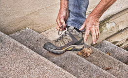 鞋带鞋子 免版税库存照片