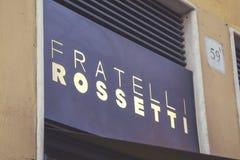 鞋店的Fratelli罗塞蒂标志 免版税库存照片