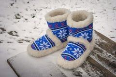 鞋类由羊毛制成 免版税库存图片