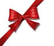 鞠躬配件箱christm对角礼品红色丝带丝绸&#3 免版税库存照片